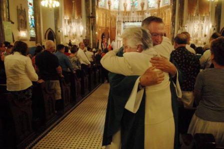 a hug in church