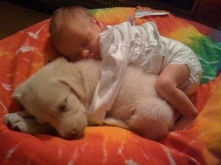 Baby cuddling puppy