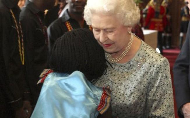 Queen getting a hug
